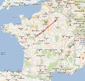TGV map Tours to Reims